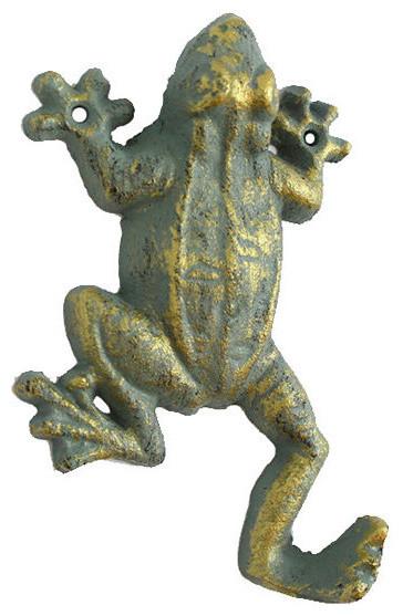 """Antique Seaworn Bronze Cast Iron Frog Hook 6""""."""