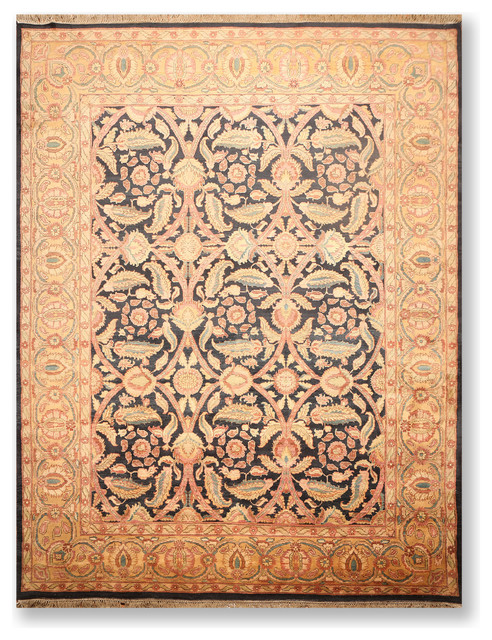 Charcoal Gold Color Persian Rug 9 1 X12 3 Traditional Area Rugs By Oriental Rug Of Houston Houzz