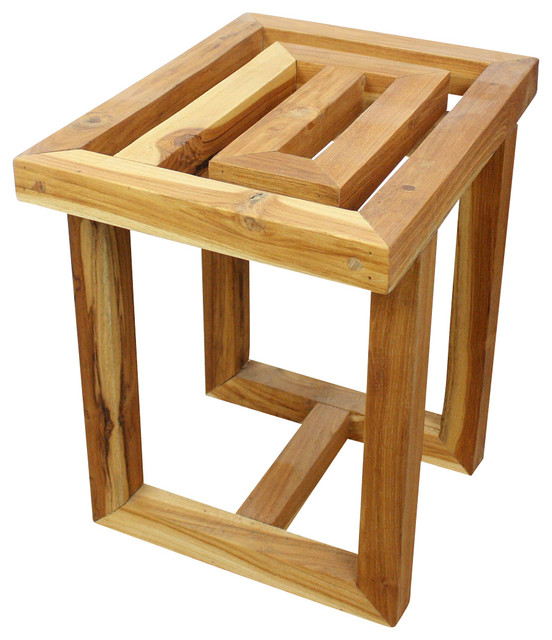 Haussmann Teak Maze Spa Stool 15 5 W X 12 D 16 In High Farmed Oil