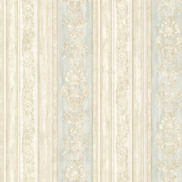 Majesty Mint Damask Stripe Wallpaper