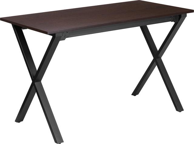 47.5&x27;&x27;x23.75&x27;&x27;d Walnut Computer Desk With Black Frame.
