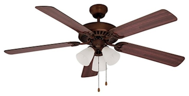 Spottswood 3-Light Ceiling Fan, Rubbed Oil Bronze With White Frost.