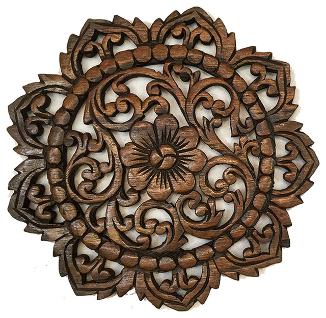 Round Wood Plaqueoriental Carved, Round Wood Carved Wall Decor