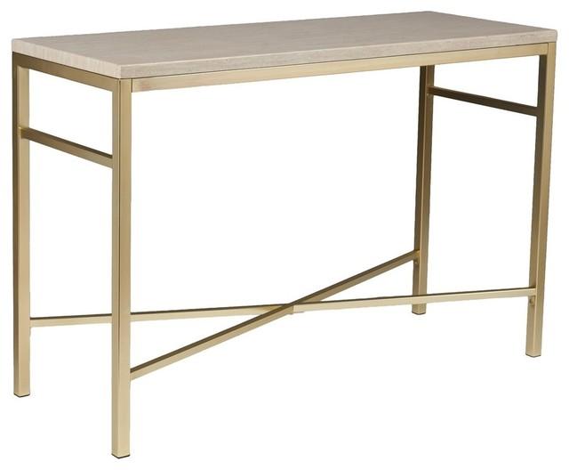 Orinda Faux Stone Console Table, Travertine.