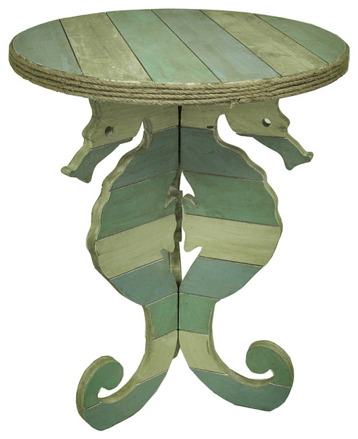 Marvelous Striped Wooden Seahorse Accent Table With Rope Trim Beach Style Side Tables