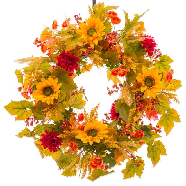 Sunflower, Mum And Red Berry Fall Wreath (fw127), 26 Inch.