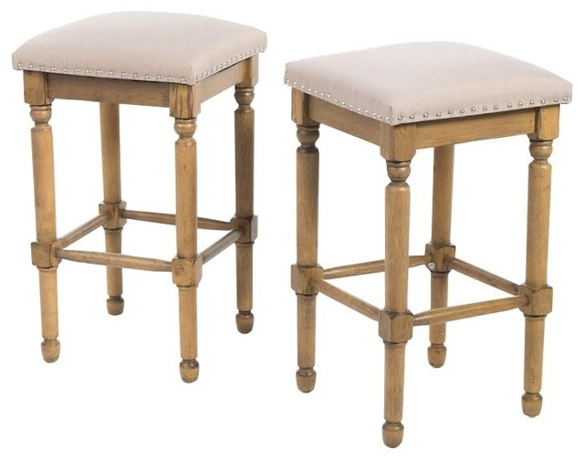 Piogor Transitional Style Light Taupe Fabric Counter Stool
