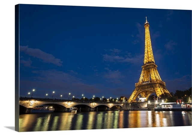 Poster Panorama Paris France Eiffel Tower at Night Fine Art Print Photo