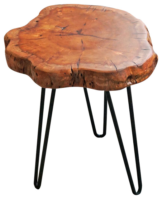 Natural Wood Side Table ~ Welland unique shape natural wood stump rustic surface