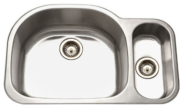 Houzer Mg-3209sr-1 Medallion Stainless Steel 70/30 Double Bowl Sink, Small Right.