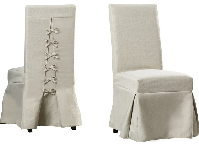 Muse Upholstered Parsons Chairs With Cover, Set of 2