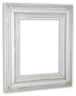 "Wide Distressed White Picture Frame, Solid Wood, 16""x20"""
