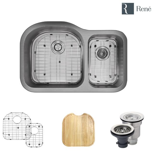 R1-1023 Stainless Steel Kitchen Sink, 16-Gauge, Wide Left