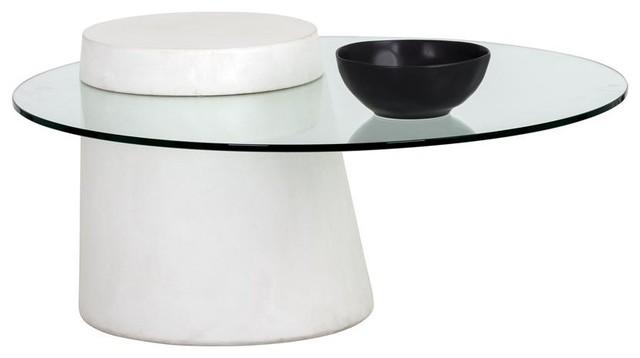 Hadriel Coffee Table Round Ivory Concrete