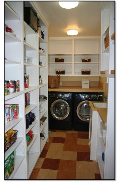 Kitchen wall pantries - Walk In Pantry Amp Laundry Room Craftsman Laundry Room