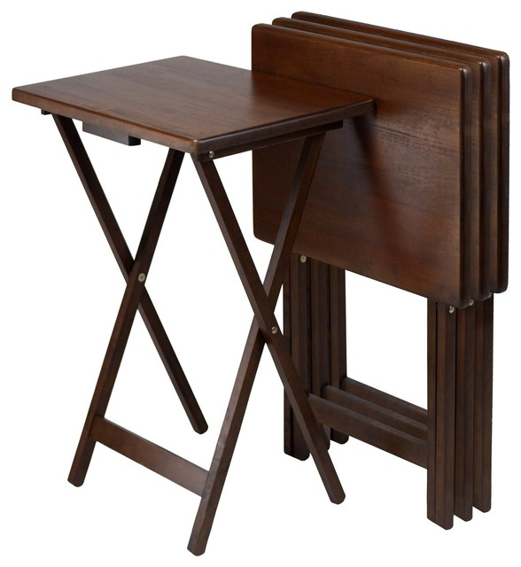 Winsome Wood Alex Antique Walnut Transitional Bed Tray Tv Table 94419