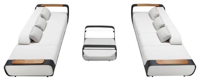 "Double Sofa Outdoor Lounge Set | Higold Pininfarina, white, 37"" x 65"" x 31"""