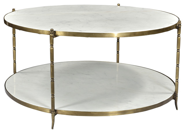 Blanco Marble Coffee Table Brass Finish.