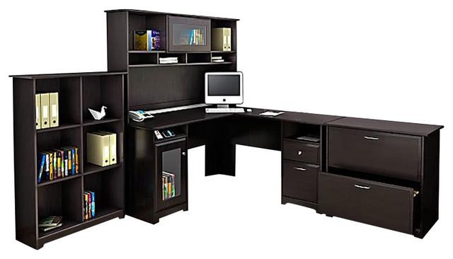 Bush Cabot 4 Piece L Shape Computer Desk Office Set In