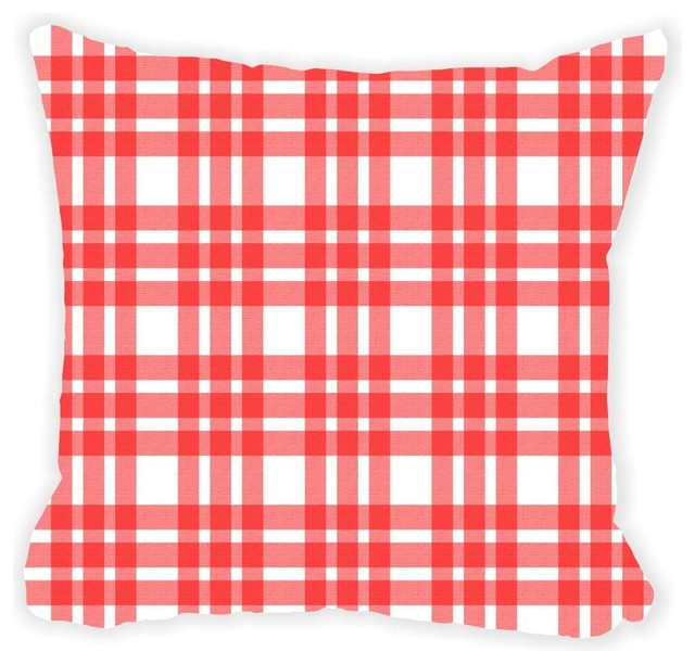 Red Plaid On White Design Microfiber Throw Pillow No Fill