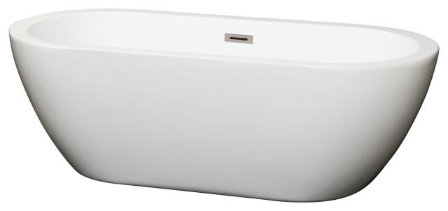 "Soho Freestanding Bathtub, Brushed Nickel, 68"", No Faucet"