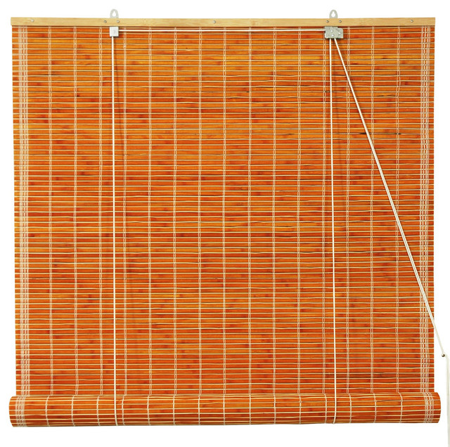 "Burnt Bamboo Roll Up Blinds, Honey, 48""x72""."