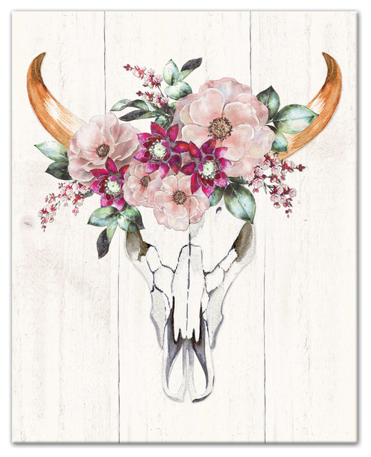 Cow Skull With Flowers Print On Canvas Contemporary Prints And Posters By Designs Direct