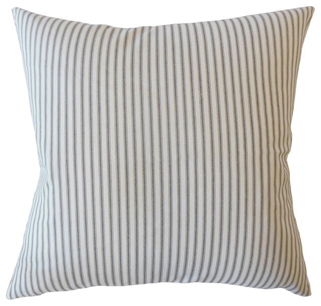 "Fabius Striped Down Filled Throw Pillow, Black, 20""x20""."