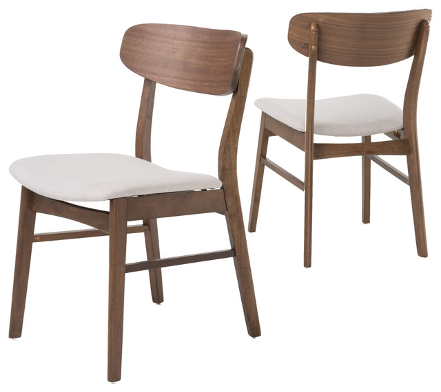 augusta dining chairs set of 2 light beige fabric and walnut midcentury dining