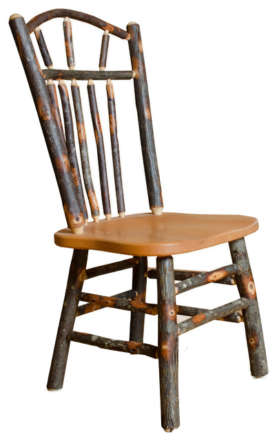 Rustic Hickory Wagon Wheel Dining Chairs, Set of 2, Side Chairs Without Arms