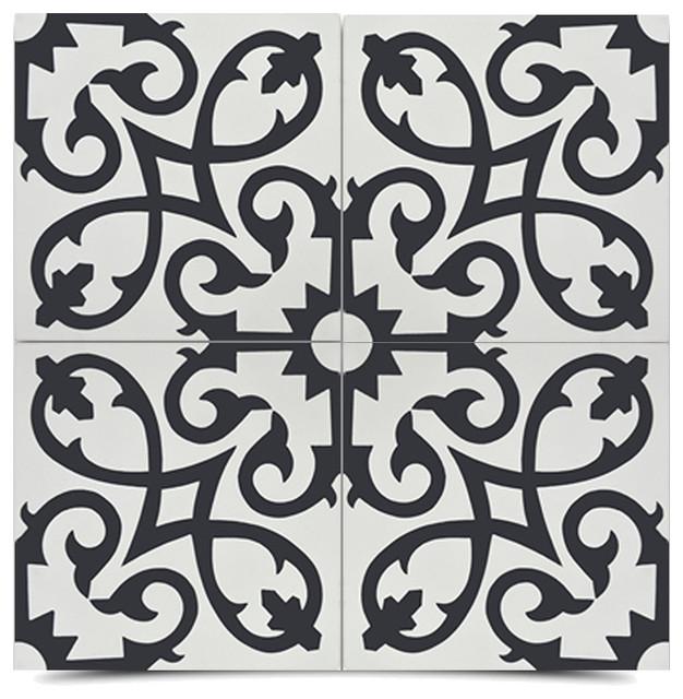 "8""x8"" Agadir Handmade Cement Tile, Black And White, Set Of 12."