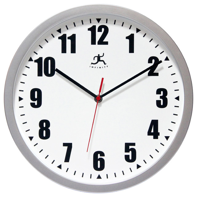 Infinity instruments silver office clock 12quot wall clock for Silver wall clocks modern
