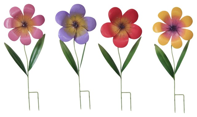 Metal Spring Garden Flower Stakes, Set Of 4 Traditional Garden Statues And