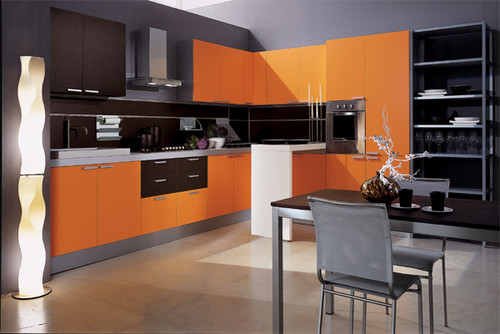 Modern Orange Black Kitchen