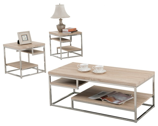 Http Www Houzz Com Photos 78756288 3 Piece Modern Design Chrome Coffee Table And 2 End Tables With Shelves Set Coffee Table Sets