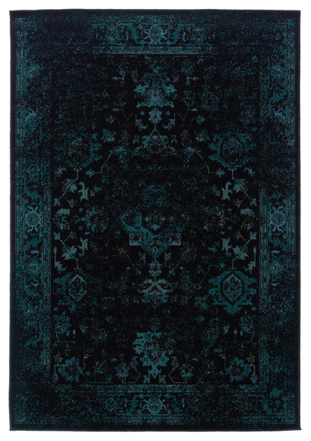 "Ophelia Overdyed Traditional Black And Teal Rug, 5&x27;3""x7&x27;6""."