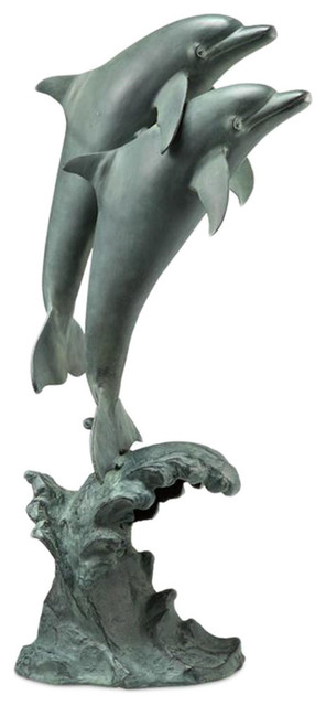 Dolphin Duet Indoor Outdoor Statue With Bluetooth Speaker  Beach Style Home Electronics