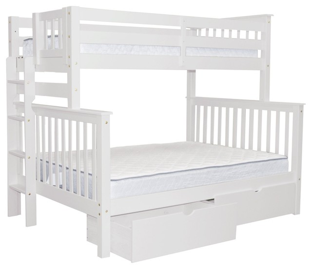 Bedz King Bunk Beds Twin Over Full With End Ladder And 2 Bed Drawers, White.