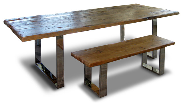 Modern Rustic Wood Benches, Medium, Set Of 2 Rustic Dining Benches