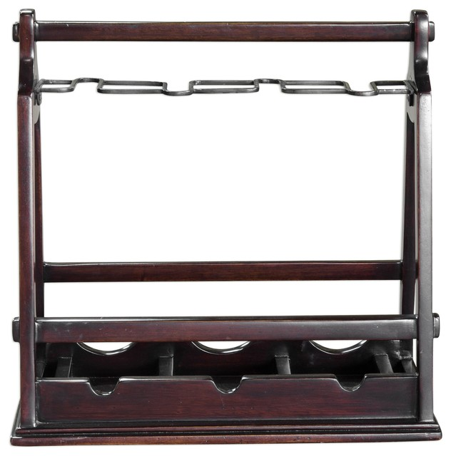 Antique Style Mahogany Wood Wine Bottle Holder Carrier Caddy Dark Accent