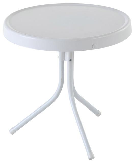 Retro Metal Side Table Alabaster White