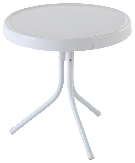 Retro Metal Side Table, Alabaster White