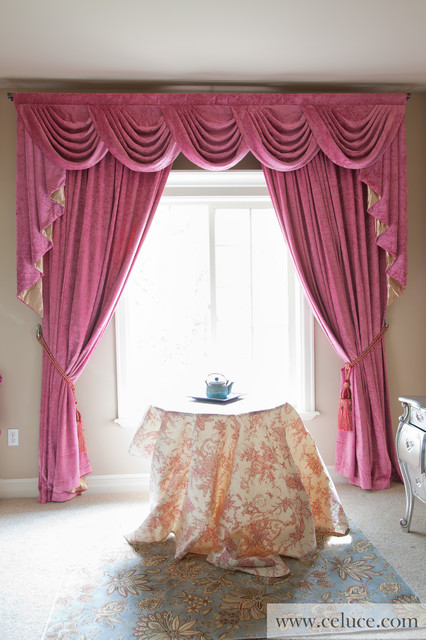 pink chenille swag valance curtain set by traditional