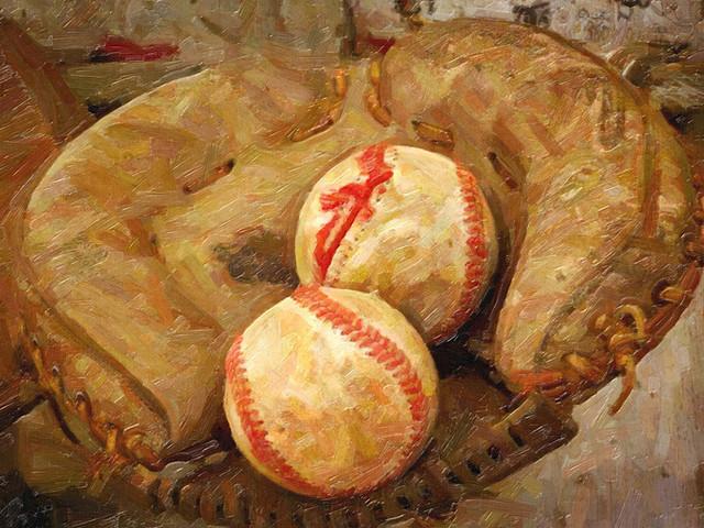 Canvas Giclee Wall Prints Leather Baseball Glove Colorful Photo Print Decor USA