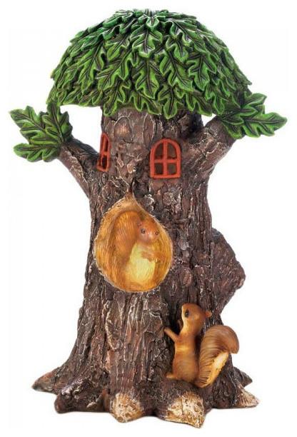 Outstanding Solar Light Up Tree House With Squirrels Garden Decor Interior Design Ideas Truasarkarijobsexamcom