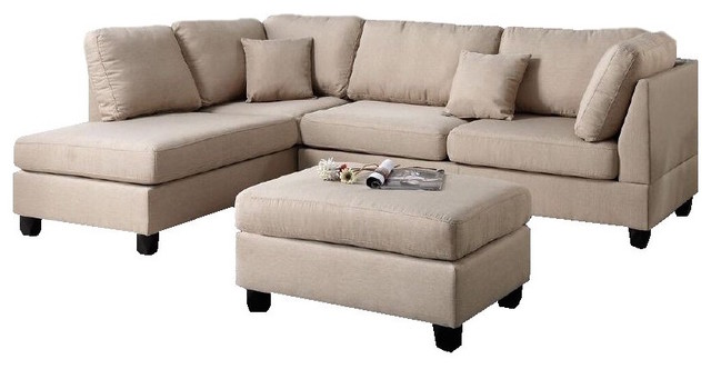 Amber Sectional Sofa With Ottoman, Tan Transitional Sectional Sofas