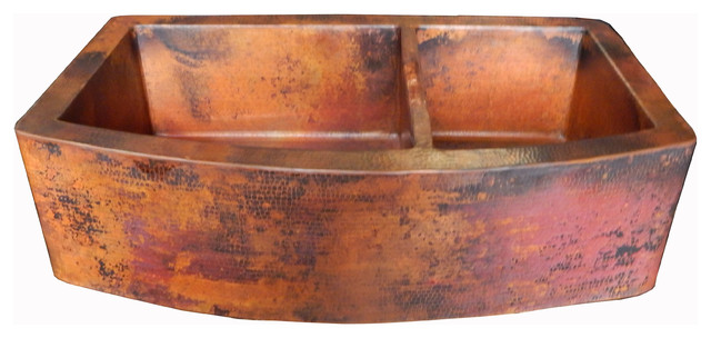Rounded Apron Front Farmhouse Kitchen Double Bowl Mexican Copper Sink 60/40  Kitchen Sinks