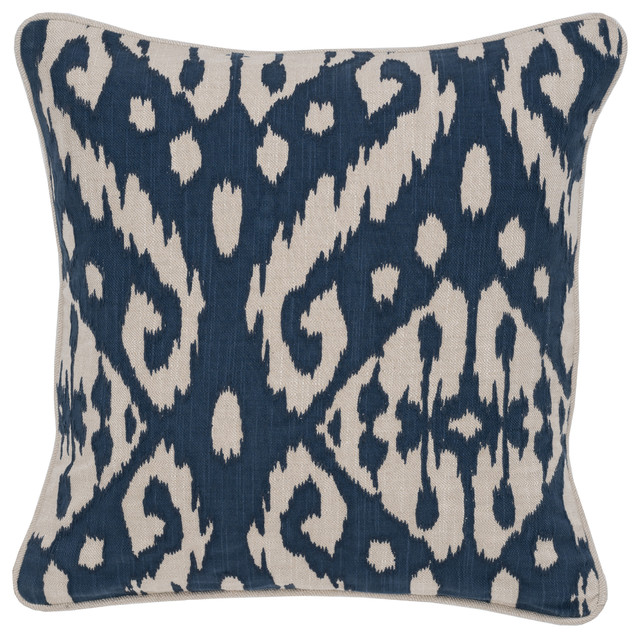 "Adana Cotton 18"" Square Throw Pillow By Kosas Home, Indigo."