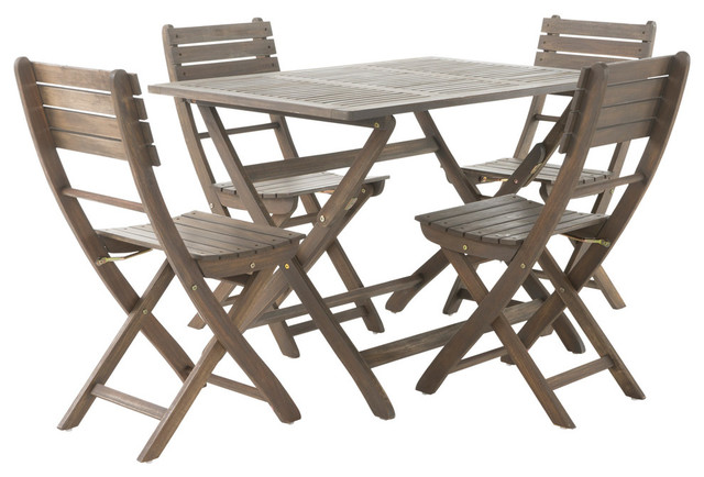 Vicaro Outdoor Gray Finish Acacia Wood Foldable Dining Set  Traditional Outdoor Dining Sets