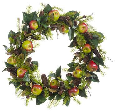 Silk Plants Direct Magnolia Leaf, Apple And Pine Cone Wreath, Set Of 1.